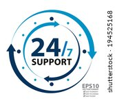 vector   blue 24 7 support with ... | Shutterstock .eps vector #194525168