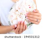 bride holding wedding bouquet...   Shutterstock . vector #194531312