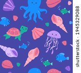 kawaii seamless pattern with... | Shutterstock .eps vector #1945329088