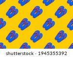 Blue Flip Flops On Yellow...
