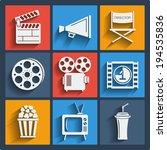 raster copy. set of 9 cinema... | Shutterstock . vector #194535836