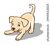 smiling puppy with wagging tail cartoon vector illustration