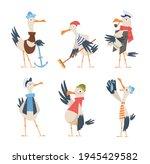 seagull sailor. cute funny sea... | Shutterstock .eps vector #1945429582