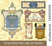 vector vintage items  label art ... | Shutterstock .eps vector #194544545