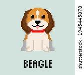pixel beagle dog. isolated...