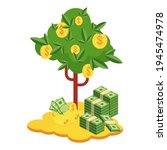 pile of money and money tree.... | Shutterstock .eps vector #1945474978