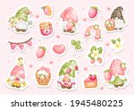 watercolor strawberry gnomes... | Shutterstock .eps vector #1945480225