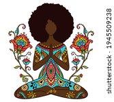 yoga girl. african american...   Shutterstock .eps vector #1945509238