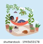 young black woman relaxing in...   Shutterstock .eps vector #1945653178