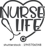 nurse life with stethoscope  ... | Shutterstock .eps vector #1945706548