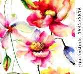 floral seamless wallpaper ... | Shutterstock . vector #194573816