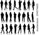 black silhouettes of beautiful... | Shutterstock .eps vector #194574605