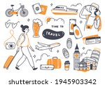 set of travel doodle isolated...   Shutterstock .eps vector #1945903342