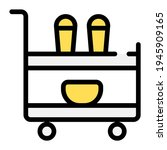 serving cart icon with outline...