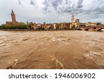 The River Adige In Flood In...