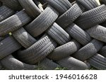 Old Car Tires In Row As A Fence ...