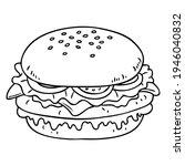 burger line vector illustration ... | Shutterstock .eps vector #1946040832