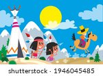 indians near the wigwam and a... | Shutterstock .eps vector #1946045485