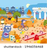 a beautiful autumn park with... | Shutterstock .eps vector #1946056468