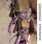 Latvian national ribbons tied...