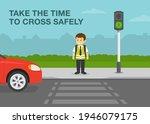 school kid is going to cross... | Shutterstock .eps vector #1946079175