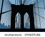 silhouette of the brooklyn... | Shutterstock .eps vector #194609186
