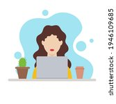 girl working on laptop at home. ... | Shutterstock .eps vector #1946109685