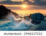 Sea Ocean Wave Hit The Rock At...