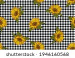 bright sunflowers on a black... | Shutterstock .eps vector #1946160568