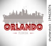 Orlando Florida skyline silhouette vector design. - stock vector