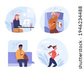 people listening to music... | Shutterstock .eps vector #1946234488