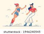 cute girls roller skaters...   Shutterstock .eps vector #1946240545