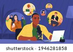 people listening podcast in... | Shutterstock .eps vector #1946281858