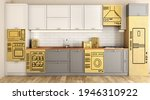 3d Render Of A Kitchen With...