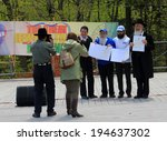 Small photo of TORONTO � MAY 18: The member of Parliament James Pasternak awarding the members of Jewish community at Lag B�Omer celebration in Earl Bales Park in May 18, 2014 in Toronto, Canada.