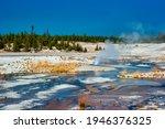 Geothermal pools at Porcelain Basin boardwalk trail inside Norris Geyser Basin