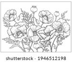 coloring page with poppies and... | Shutterstock .eps vector #1946512198