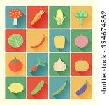 vegetable icons set | Shutterstock .eps vector #194674862