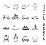vehicle icons set | Shutterstock .eps vector #194675132