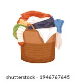 laundry wicker basket with pile ... | Shutterstock .eps vector #1946767645