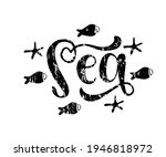 sea hand drawn word. lettering... | Shutterstock .eps vector #1946818972