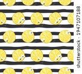 lemons on stirped seamless...   Shutterstock . vector #1947107188