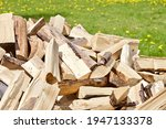 Stacked Chopped Firewood On...