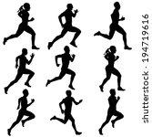 set running silhouettes. ... | Shutterstock . vector #194719616