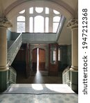 Small photo of Large abandoned reception area of an old sanatorium in Brandenburg, Germany.