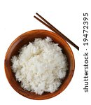 Bowl of Rice on Isolated Background - stock photo