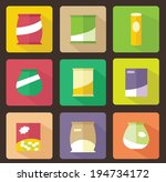 Set Of Various Snack Flat Icon