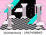 surreal vaporwave room interior ... | Shutterstock .eps vector #1947458845