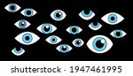 many cartoon eyes stare out of... | Shutterstock .eps vector #1947461995