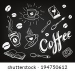 set of hand drawn coffee theme... | Shutterstock .eps vector #194750612